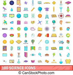 100 science icons set, cartoon style