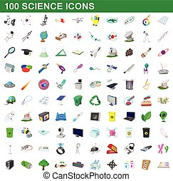 100 science icons set, cartoon style