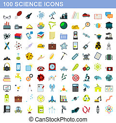 100 science icons set, flat style