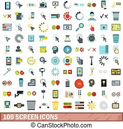 100 screen icons set, flat style