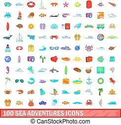 100 sea adventures icons set, cartoon style