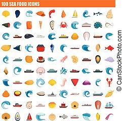 100 sea food icon set, flat style