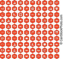 100 sea icons hexagon orange
