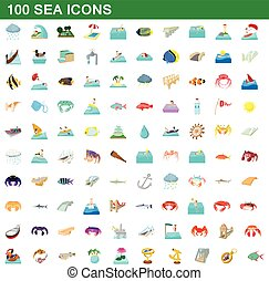 100 sea icons set, cartoon style