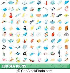 100 sea icons set, isometric 3d style