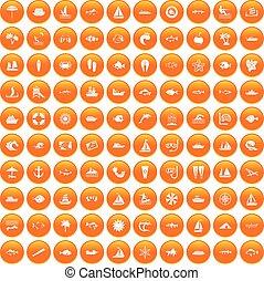 100 sea icons set orange
