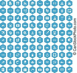 100 sea life icons set blue