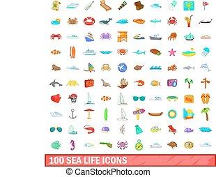 100 sea life icons set, cartoon style