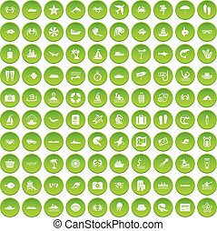 100 sea life icons set green