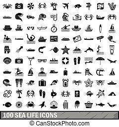 100 sea life icons set, simple style