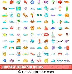 100 sea tourism icons set, cartoon style