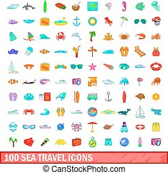 100 sea travel icons set, cartoon style