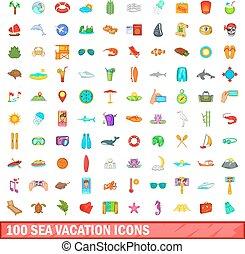 100 sea vacation icons set, cartoon style