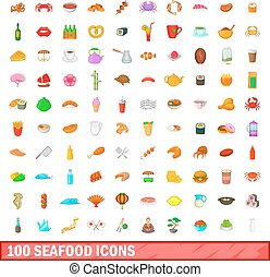 100 seafood icons set, cartoon style