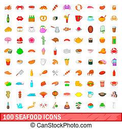 100 seafood icons set, cartoon style