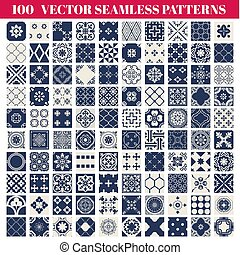 100, seamless, modelli, fondo, collezione, -, per, disegno, e, album, -, in, vettore