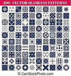 100, seamless, patrones, plano de fondo, colección, -, para, diseño, y, álbum de recortes, -, en, vector