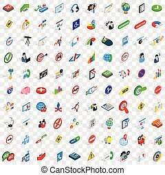 100 search icons set, isometric 3d style