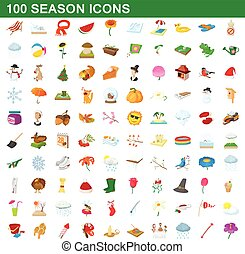 100 seasons icons set, cartoon style