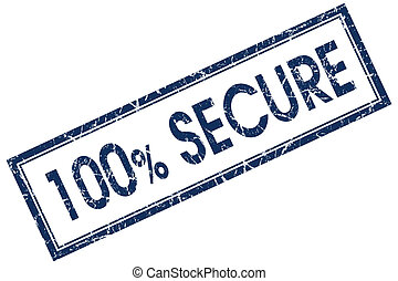 100% secure blue square stamp
