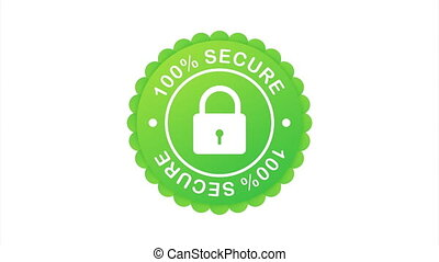 100 Secure grunge  icon. Badge or button for commerce website.  stock illustration.