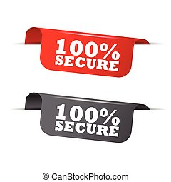 100% secure, red banner 100% secure, vector element 100% secure