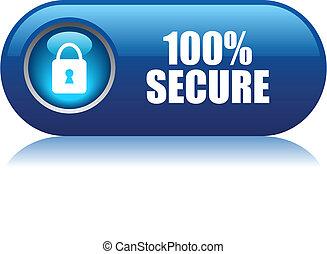 100, secure, vektor, knap