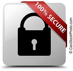 100% secure white square button red ribbon in corner