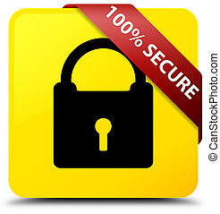 100% secure yellow square button red ribbon in corner