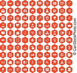 100 security icons hexagon orange