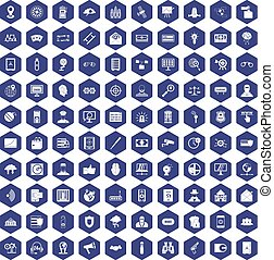 100 security icons hexagon purple