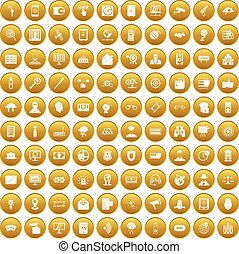 100 security icons set gold - 100 security icons set in gold...