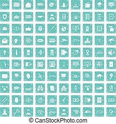 100 security icons set grunge blue
