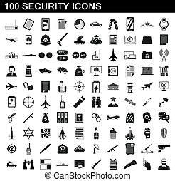 100 security icons set, simple style
