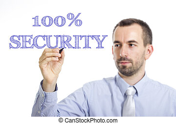 100% SECURITY - Young businessman writing blue text on transparent surface