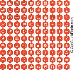100 seminar icons hexagon orange