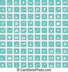 100 seminar icons set grunge blue