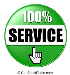 100% service button green