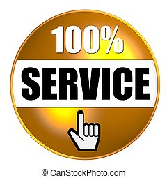 100% service button yellow