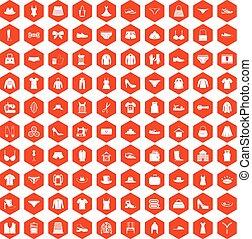 100 sewing icons hexagon orange