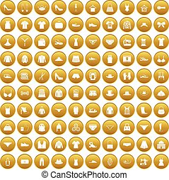 100 sewing icons set gold