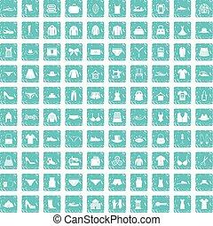 100 sewing icons set grunge blue