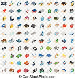 100 shed icons set, isometric 3d style