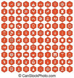 100 shield icons hexagon orange