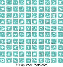 100 shield icons set grunge blue
