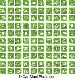 100 shield icons set grunge green