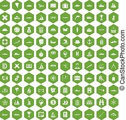 100 shipping icons hexagon green