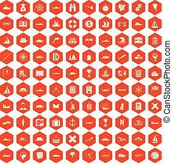 100 shipping icons hexagon orange