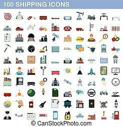 100 shipping icons set, flat style
