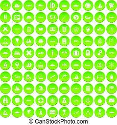 100 shipping icons set green circle